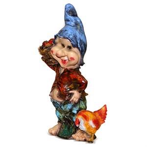 Фигура для сада Гном с курицей