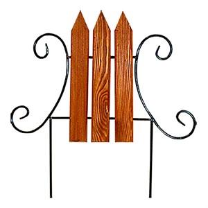 Кованый секционный заборчик с деревом (3 штакетины)
